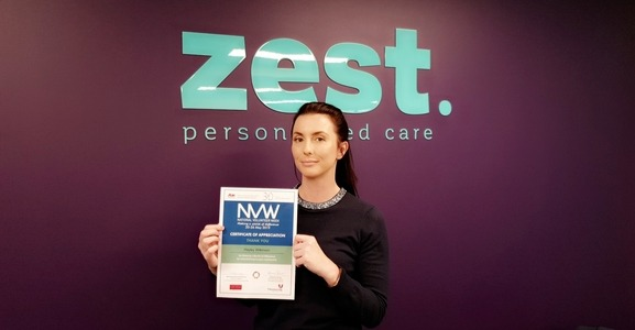 Hayley With Volunteer Certificate